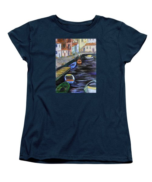 Women's T-Shirt (Standard Cut) featuring the painting Boats In Front Of The Buildings IIi by Xueling Zou