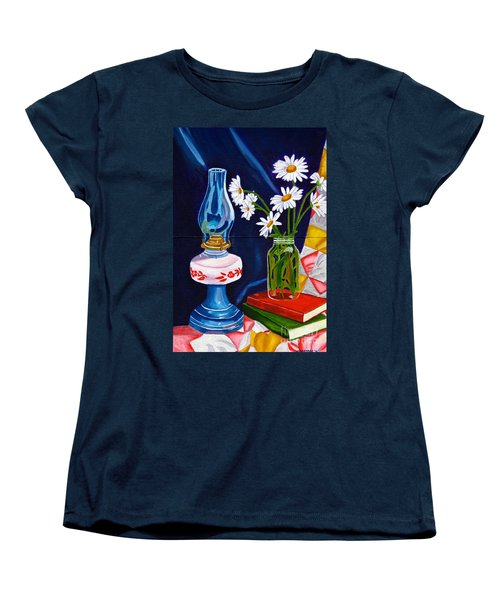 Women's T-Shirt (Standard Cut) featuring the painting 2 Books And A Lamp by Laura Forde