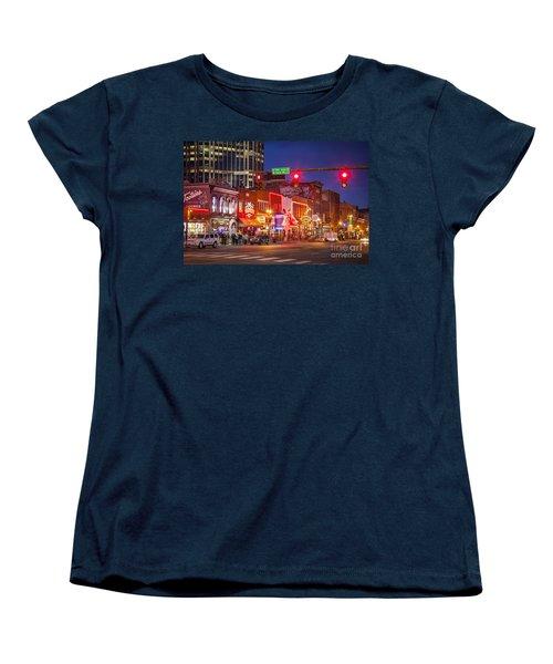 Broadway Street Nashville Women's T-Shirt (Standard Cut) by Brian Jannsen