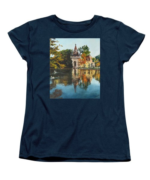 Women's T-Shirt (Standard Cut) featuring the painting Castle On The Water by Mary Ellen Anderson