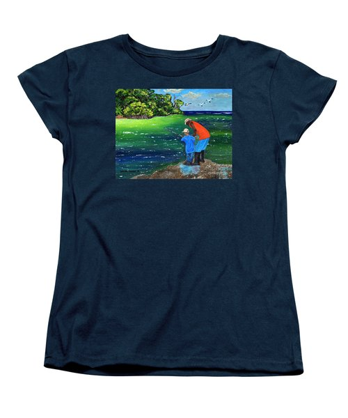 Women's T-Shirt (Standard Cut) featuring the painting Fishing Buddies by Laura Forde