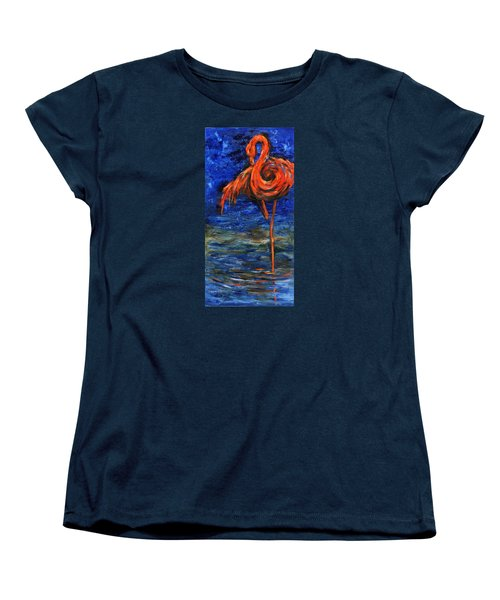 Women's T-Shirt (Standard Cut) featuring the painting Flamingo by Xueling Zou