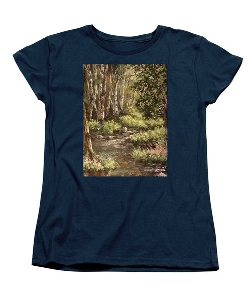 Women's T-Shirt (Standard Cut) featuring the painting Forest Stream by Megan Walsh