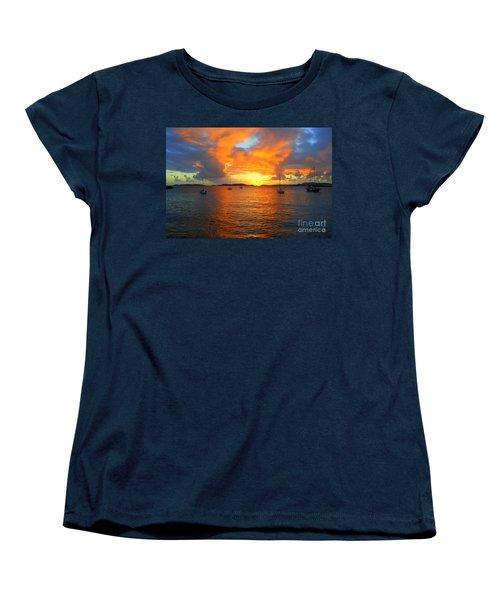 Frank Bay St. John U. S. Virgin Islands Sunset Women's T-Shirt (Standard Cut) by Catherine Sherman
