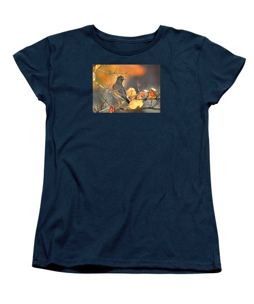 Women's T-Shirt (Standard Cut) featuring the photograph Glowing Robin by Nava Thompson