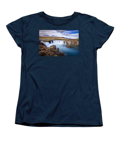 Godafoss Waterfall Women's T-Shirt (Standard Cut) by Alexey Stiop