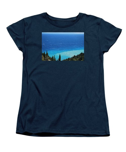 green and blue Erikousa Women's T-Shirt (Standard Cut) by George Katechis