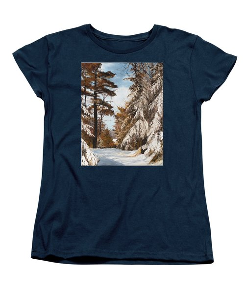 Women's T-Shirt (Standard Cut) featuring the painting Holland Lake Lodge Road - Montana by Mary Ellen Anderson