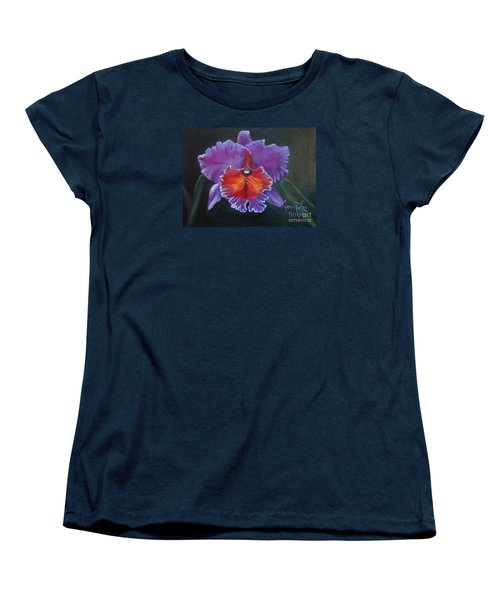 Women's T-Shirt (Standard Cut) featuring the painting Lavender Orchid by Jenny Lee