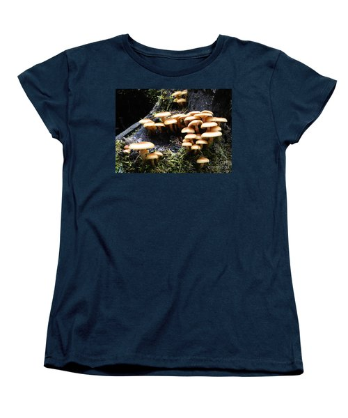 Women's T-Shirt (Standard Cut) featuring the photograph Mushrooms On A Stump by Chalet Roome-Rigdon