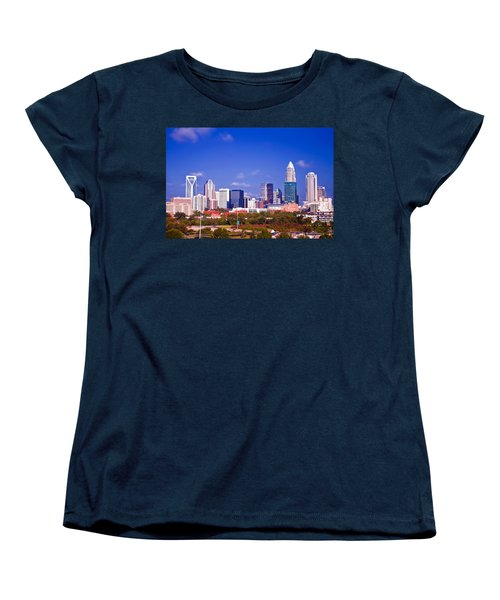 Women's T-Shirt (Standard Cut) featuring the photograph Skyline Of Uptown Charlotte North Carolina At Night by Alex Grichenko