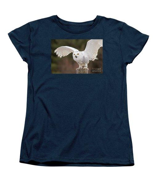 Snowy Owl Women's T-Shirt (Standard Cut) by Les Palenik