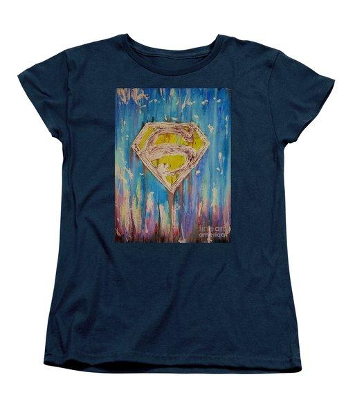 Superman's Shield Women's T-Shirt (Standard Cut) by Justin Moore