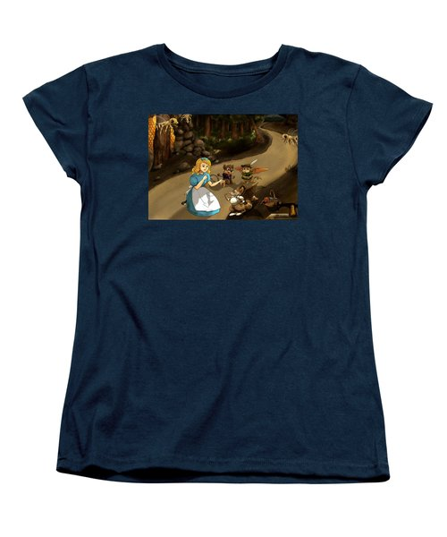 Women's T-Shirt (Standard Cut) featuring the painting Tammy Meets Cedric The Mongoose by Reynold Jay