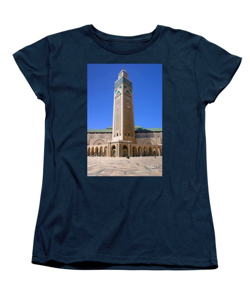Women's T-Shirt (Standard Cut) featuring the photograph The Hassan II Mosque Grand Mosque With The Worlds Tallest 210m Minaret Sour Jdid Casablanca Morocco by Ralph A  Ledergerber-Photography