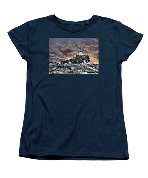 Women's T-Shirt (Standard Cut) featuring the painting Tillamook Rock Light by Lynne Wright