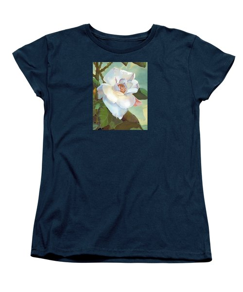 Women's T-Shirt (Standard Cut) featuring the mixed media Unicorn In The Garden by J L Meadows