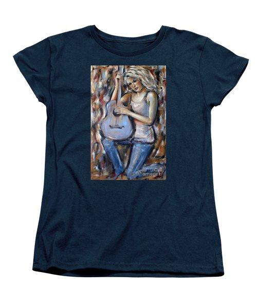 Women's T-Shirt (Standard Cut) featuring the painting Blue Guitar 010709 by Selena Boron