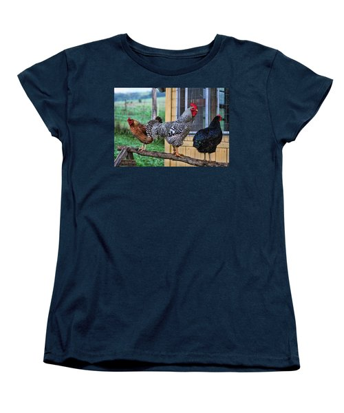 3 Chickens Women's T-Shirt (Standard Cut) by Denise Romano