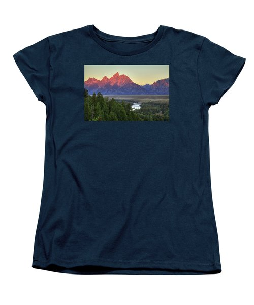 Women's T-Shirt (Standard Cut) featuring the photograph Grand Tetons Morning At The Snake River Overview - 2 by Alan Vance Ley