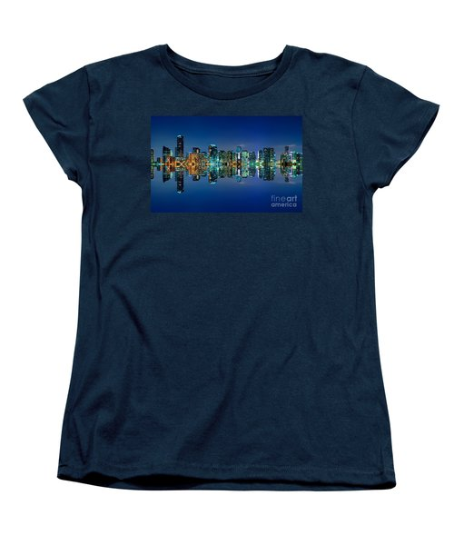 Women's T-Shirt (Standard Cut) featuring the photograph Miami Skyline At Night by Carsten Reisinger
