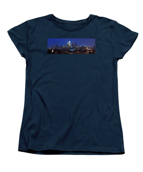 Buildings Lit Up At Night In A City Women's T-Shirt (Standard Cut) by Panoramic Images