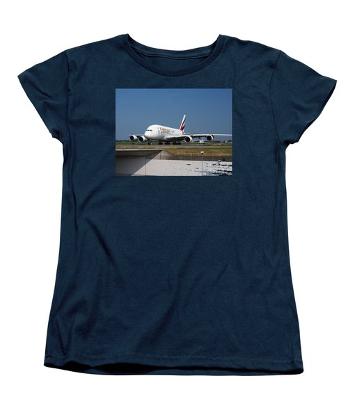 Emirates Airbus A380 Women's T-Shirt (Standard Cut) by Paul Fearn