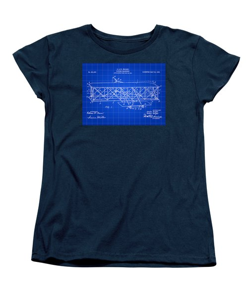 Flying Machine Patent 1903 - Blue Women's T-Shirt (Standard Cut) by Stephen Younts