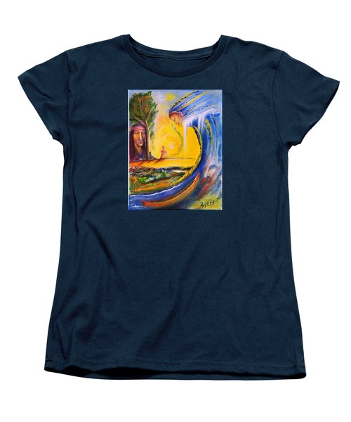 Women's T-Shirt (Standard Cut) featuring the painting The Island Of Man by Kicking Bear  Productions