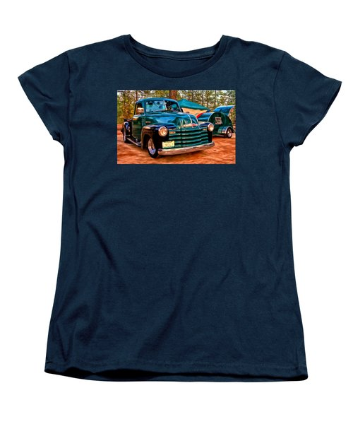 '51 Chevy Pickup With Teardrop Trailer Women's T-Shirt (Standard Cut) by Michael Pickett