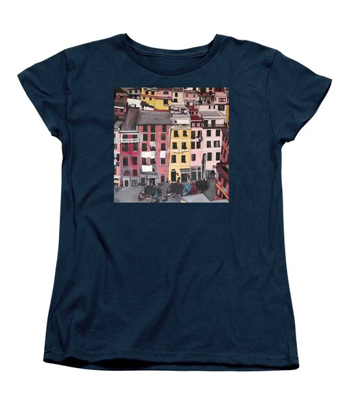 A Bird's Eye View Of Cinque Terre Women's T-Shirt (Standard Cut) by Quin Sweetman