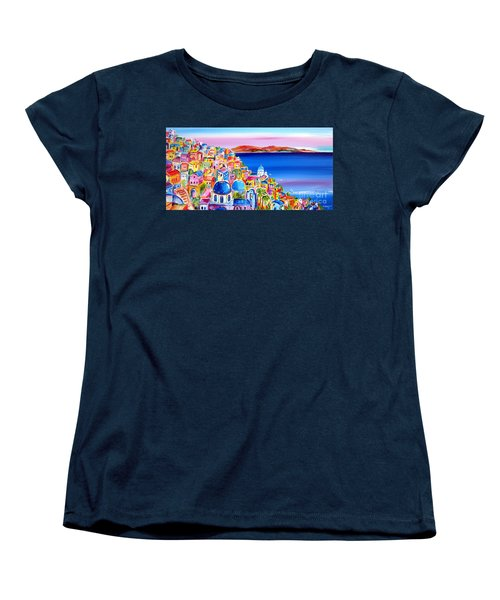 Women's T-Shirt (Standard Cut) featuring the painting A Bright Day In Santorini Greece by Roberto Gagliardi
