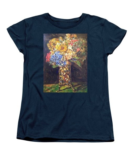 Women's T-Shirt (Standard Cut) featuring the painting A Colorful Sun-day by Belinda Low