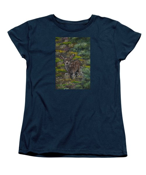 Women's T-Shirt (Standard Cut) featuring the painting A Happy Fawn by Jennifer Lake