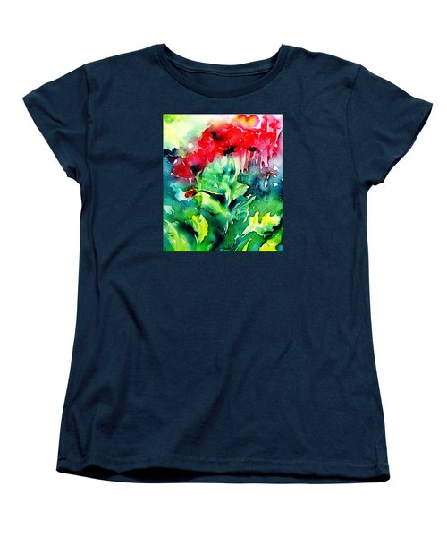 Women's T-Shirt (Standard Cut) featuring the painting A Haze Of Poppies by Trudi Doyle