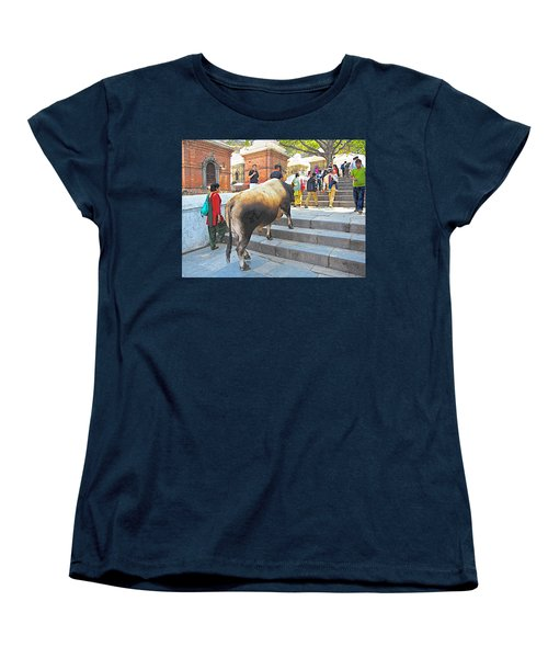 A Holy Cow Climbing Steps From Bagmati River In Kathmandu-nepal  Women's T-Shirt (Standard Cut) by Ruth Hager