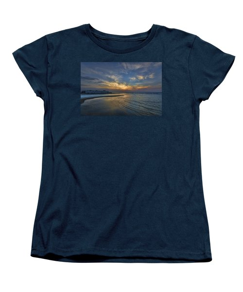 Women's T-Shirt (Standard Cut) featuring the photograph a joyful sunset at Tel Aviv port by Ron Shoshani