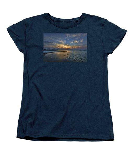 Women's T-Shirt (Standard Cut) featuring the photograph a joyful sunset at Tel Aviv port by Ron Shoshani