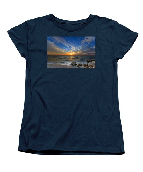 Women's T-Shirt (Standard Cut) featuring the photograph A Majestic Sunset At The Port by Ron Shoshani