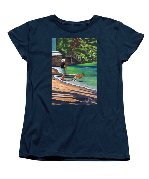 Women's T-Shirt (Standard Cut) featuring the painting A Man And His Dog by Laura Forde