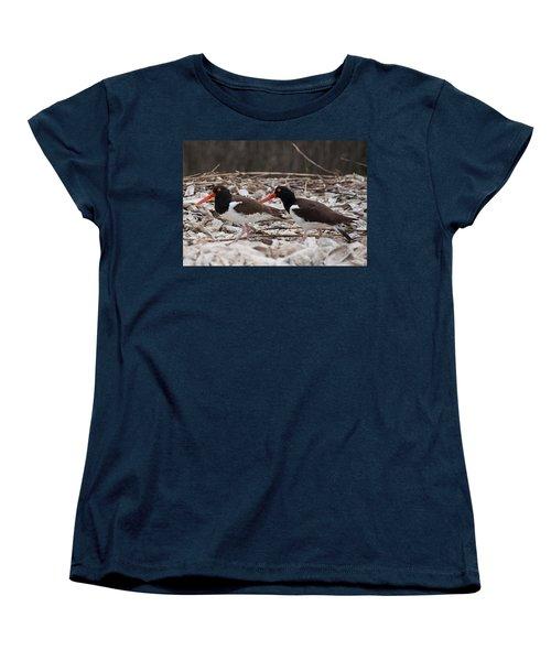 A Mated Pair Of Oyster Catchers Women's T-Shirt (Standard Cut) by John Black