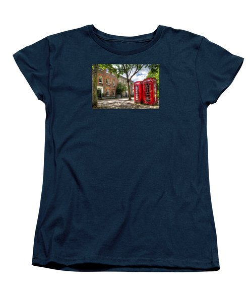 A Pair Of Red Phone Booths Women's T-Shirt (Standard Cut) by Tim Stanley