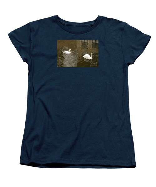 Women's T-Shirt (Standard Cut) featuring the photograph A Pair Of Swans Bruges Belgium by Imran Ahmed