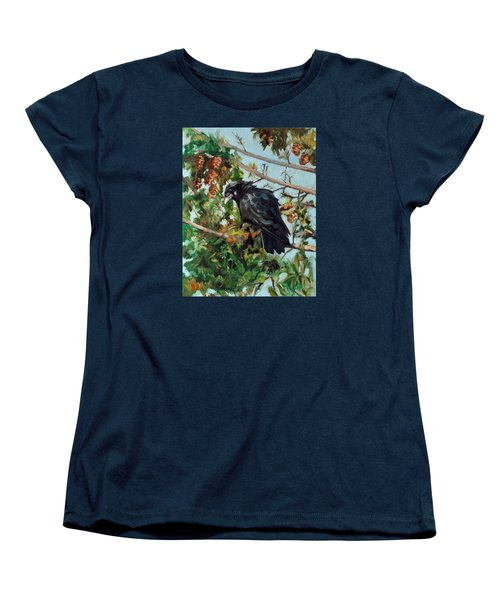 Women's T-Shirt (Standard Cut) featuring the painting A Perch For Nevermore by Pattie Wall