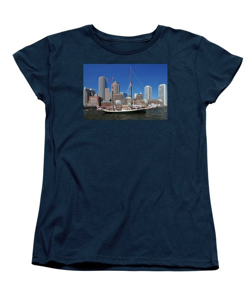 Women's T-Shirt (Standard Cut) featuring the photograph A Ship In Boston Harbor by Mitchell Grosky
