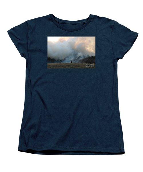 A Solitary Firefighter On The White Draw Fire Women's T-Shirt (Standard Cut) by Bill Gabbert
