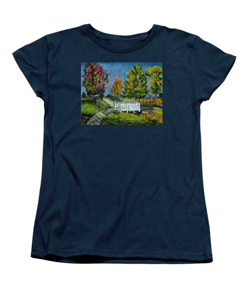 Women's T-Shirt (Standard Cut) featuring the painting A Walk In The Park by Michael Daniels