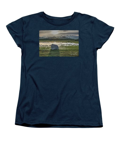 Women's T-Shirt (Standard Cut) featuring the photograph A Yellowstone Sunrise And Hazy Morning Ridges by Bill Gabbert