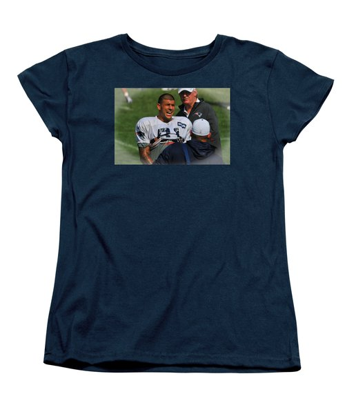 Women's T-Shirt (Standard Cut) featuring the photograph Aaron Hernandez With Patriots Coaches by Mike Martin