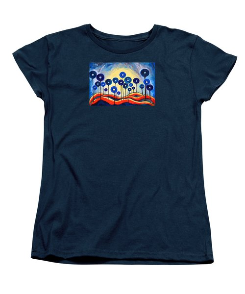Abstract Blue Symphony  Women's T-Shirt (Standard Cut) by Ramona Matei